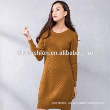 Kabel gestrickt Pullover Damen Winter lange Pullover Kleid