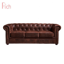 American modern style furniture antique 3 Seater upholstery vintage leather living room chesterfield leisure sofa