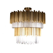High Quality Crystal Tube Luxury Round Gold Stainless Steel Modern Chandeliers