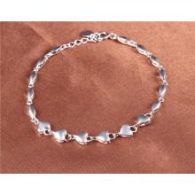 925 prata coração cor branco pulseiras