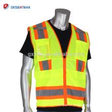 Chaleco tecnológico ANSI clase 2 Topógrafo amarillo chaqueta de trabajo alta seguridad Hi Viz Workwear con tira reflectante y bolsillos de dos tonos