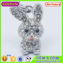 Encanto lindo del conejo de cristal del metal / encanto animal 3D