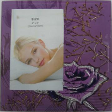 "Purple Flower 4""X6"" Glass Photo Frame"