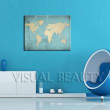 Etiqueta da parede impressa parede do mapa do mundo
