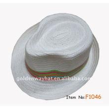 Günstige White Fedora Hut mit Streifen Band mit benutzerdefinierten Design Logo Papier Strohhut