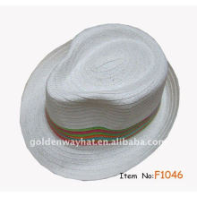 Cheap White fedora hat with strip band with custom design logo paper straw hat