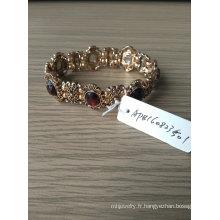 Bohême marron Bracelet élastique Pierre