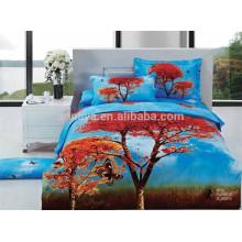Colores 3D Diseños 100% algodón tela cama cubierta conjunto hecho en China
