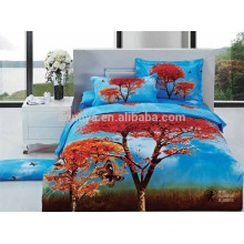 Colored 3D Designs 100% Cotton Fabric Bed Cover Set Made in China