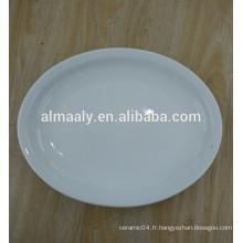 Plat en céramique plaque ovale assiette blanche