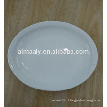 Cerâmica restaurante oval prato branco prato