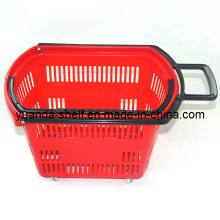 Plastic Supermarket Shopping Rolling Handle Basket with Wheel