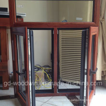 Woodwin Producto principal Vidrio templado doble Ventana de madera y de aluminio
