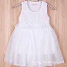 Summer Girl's Dress, White Rose Flower/Vest Yarn Dress, Vara Bow Belt Design, Cool and Breathable