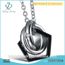 New year gift black and silver color stainless steel love symbol necklace i love u necklace