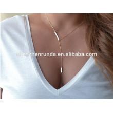 Nouveaux produits chauds pour 2015 Sideways Vertical Hammered Bar Charm necklace Infinity Pendentif Collier bijoux à la mode
