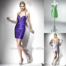 Purple Red Halter Rhinestone Column Mini Short Graduation Gowns Homecoming Dress