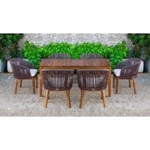 Hot Trendy Design Polyethylene Rattan Dining Chair and Acacia Wooden Table For Outdoor Patio Garden