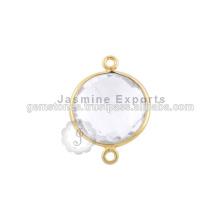 Conector de bisel de cuarzo de cristal, conectores de bisel plateado oro Vermeil