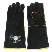 Guantes de soldadura protectores de mano resistentes al calor de cuero negro con ce