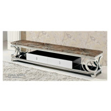 Coffee Color Marble TV Stand with Stainless Steel Frame (8009)