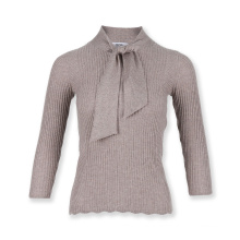 Womens knit sweater lace up bow tie ribbed pullover knitwear sweater  plain pullover basic sweater