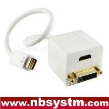 Mini DVI para HDMI + adaptador DVI, mini DVI macho para HDMI fêmea e DVI macho