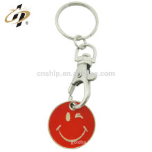 2017 years new custom metal happy smile trolley token emoji coin keychain holder for shopping