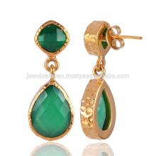 Green Onyx and Yellow Gold Plated Fashion Earring
