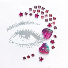 Etiqueta engomada cristalina de encargo adhesiva de la gema de la cara de la joyería del arte al por mayor