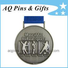 Medallas de deportes al por mayor con chapado de plata antigua