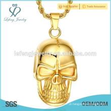 Hot venda ouro chapeado jóias de aço inoxidável punk crânio colar pingente