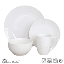 Embossed Sunflower 16PCS Restaurant Dinnerware Set