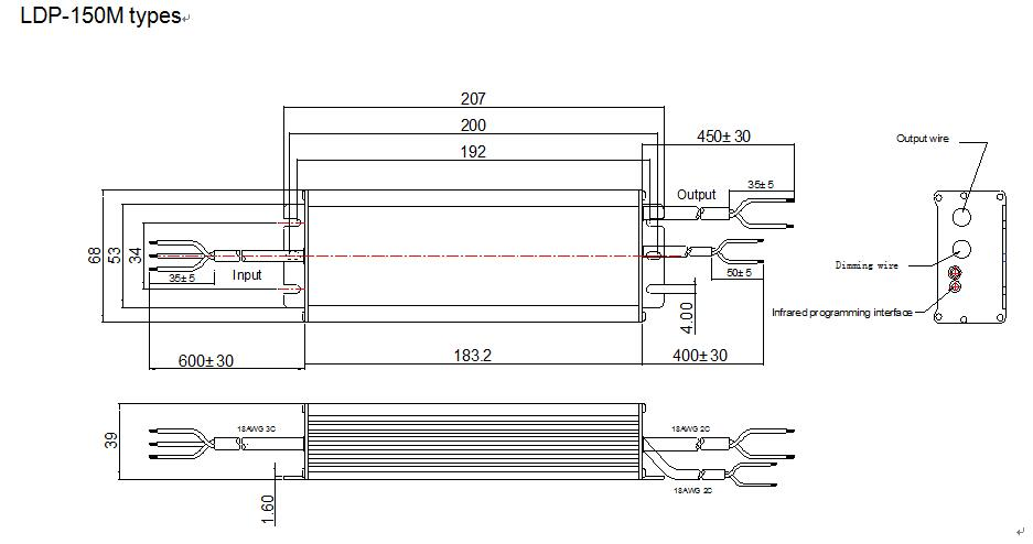 LDP-150M Mechanical drawing