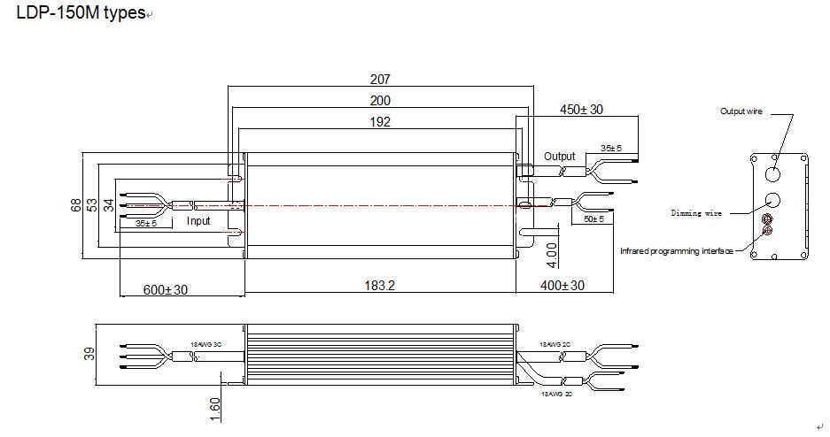 LDP-150M Mechanical drawing
