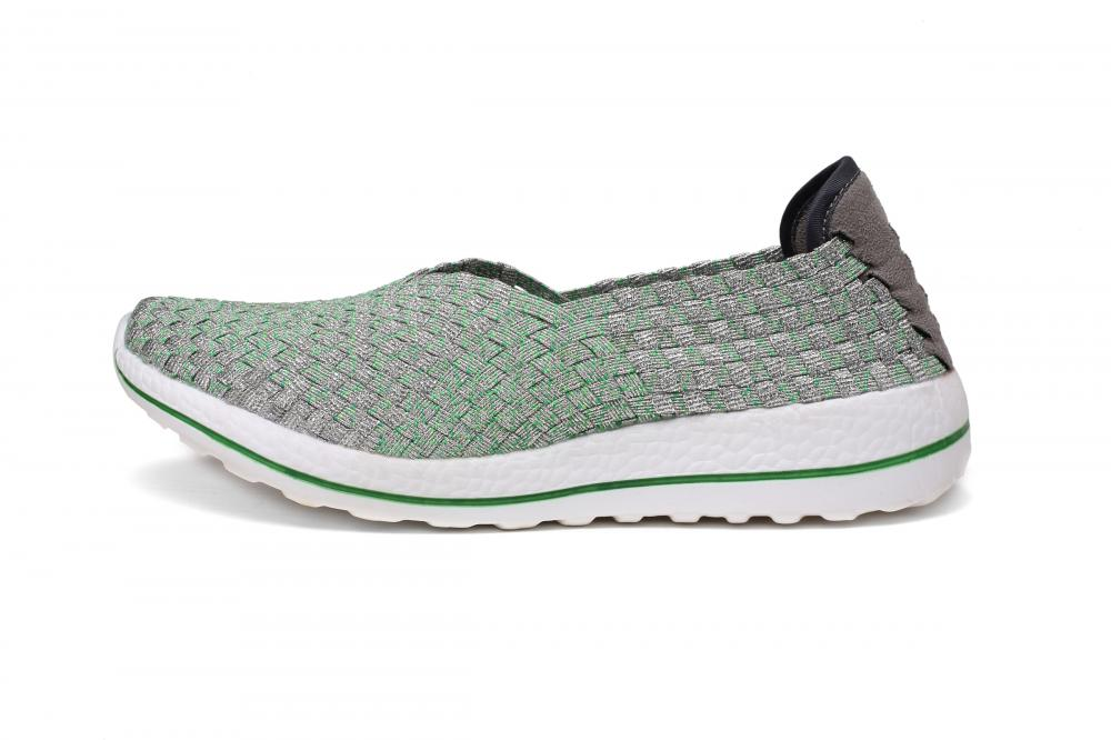 Grey Silver Texture Woven Slip-ons