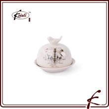 Beurre en céramique Plat avec motif décoratif Oiseau sur couvercle décoratif