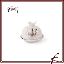 Ceramic butter Dish with decal pattern Bird on lid decorative