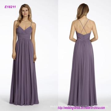 Chiffon A-Line Brautjungfernkleid mit drapiertem Mieder