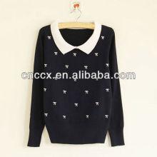 12STC0570 bowknots imprimieron el suéter elegante de las señoras
