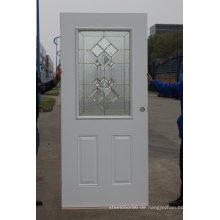 Fangda Pre-Hung Exterior Schmiedeeisen Tür mit gehärtetem Glas dekoriert