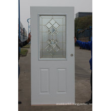 Fangda Pre-Hung Exterior Wrought Iron Door Decorated with Tempered Glass