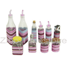Glas-Glas mit Weben-Öl-Flasche (TM1208)