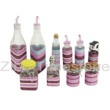 Стеклянный Опарник с плетение-бутылка масла (TM1208)