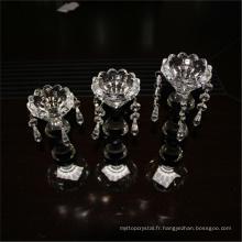 Divers durable promotionnel en utilisant le verre clair à longue tige fleur conception bougeoirs en verre