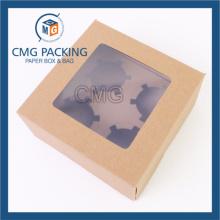 Коробка для пирожных с красной крафт-бумагой с окном из ПВХ (коробка CMG-cake-023)