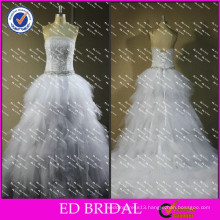 ED New Design Real Photos Heavy Ruffle Tulle Crystal Waist Wedding Dresses