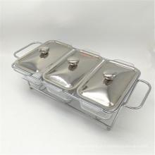 Aquecedor de alimento de aço inoxidável da peça do equipamento barato do bufete da cozinha 3 para abastecer