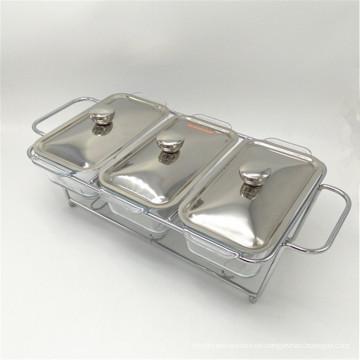 Preiswerte Küchenbuffet-Ausrüstung Edelstahl 3-teiliger Speisenwärmer für Catering