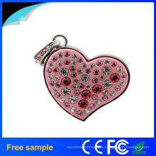 Regalo de la muchacha promocional Pendiente cristalino Pendrive del corazón 8GB USB Flash Drive